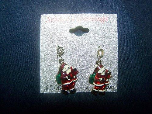 Christmas~Santa Earrings~Dangling~Silver color