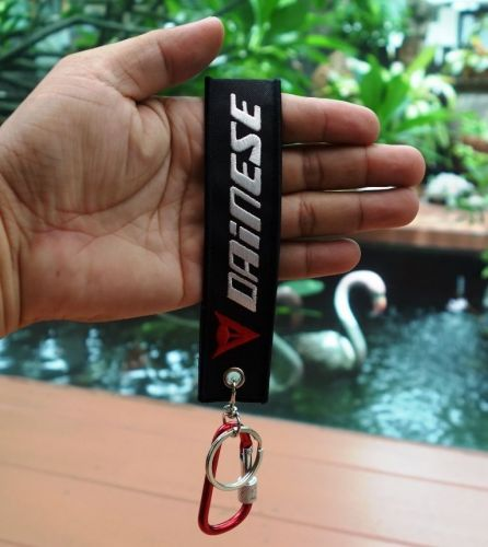 1 Embroidered Fabric Strap Dainese Keychain Keyring Key Holder Tag Motorcycle