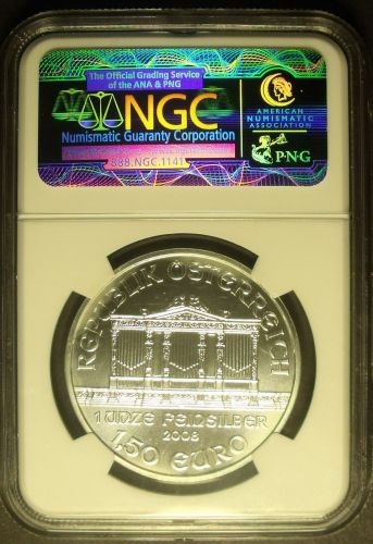 Austria 2008 1 1/2 Euros Vienna Philharmonic NGC MS-69 First Year Ever Minted~FS