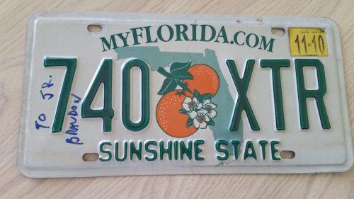 2010 Florida FL Auto Car Truck License Plate Tag# 740 XTR (405)