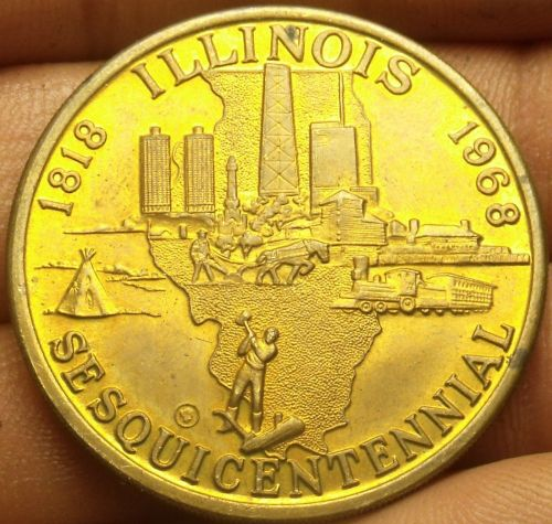 Illinois 1968 Sesquicentennial Celebration Medallion~38.5mm