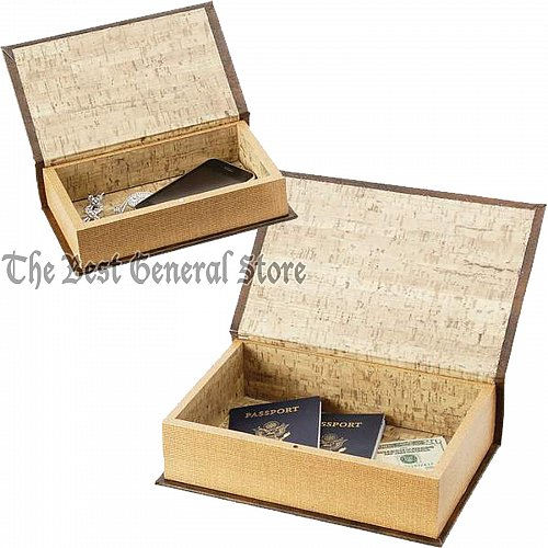 2pc Faux Book Safe Set with Magnetic Closure or Storage Box for Craft Supplies