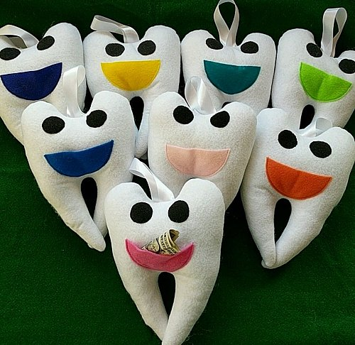 Tooth fairy pillow handmade boy or girl mouth colors ready to ship