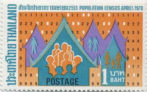 Thailand 1v MNH stamp 1970 Issue Population census