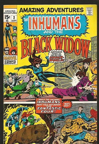 INHUMANS and the BLACK WIDOW in Amazing Adventures #2 Marvel Comics KIRBY '70 VF