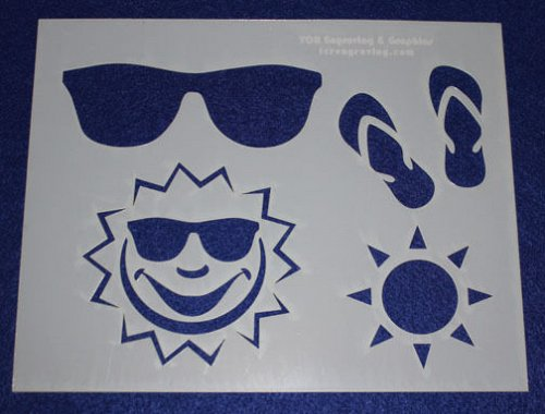 2 Piece Set -Mylar 14 Mil Summer Stencils Painting/Crafts/Stencil/Template