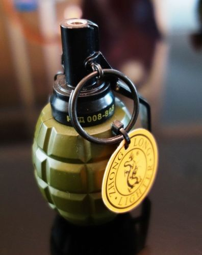 Auto Ignition Flame Butane Gas Jet hand grenade Green sphere # 072