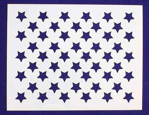 """50 Star Stencil 14 mil Mylar- 6""""Hx7.75""""L- Painting/Crafts/Template"""