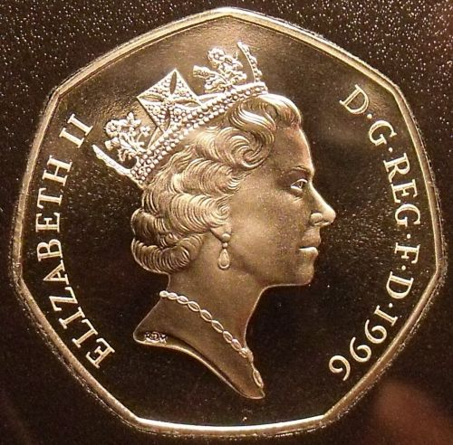 Huge Gem Cameo Great Britain Proof 1996 50 Pence~Britannia Seated~Free Shipping