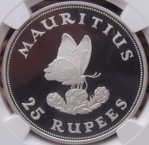 Mauritius 1975 Silver 25 Rupees~NGC PR-68 UC~Pop=2~Blue Swallowtail Butterfly~FS