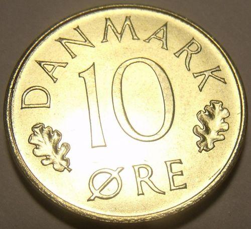 Denmark 1975-H.S.B. 10 Ore Gem Unc~Oak Leaves~Crowned Monogram~Free Shipping