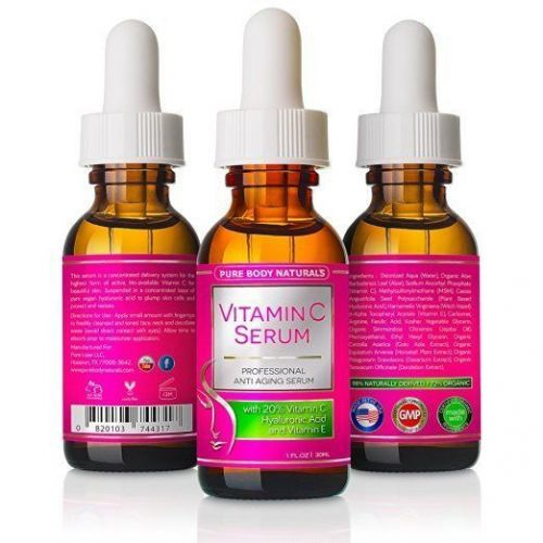 Pure Body Naturals Vitamin C Serum for Face with Hyaluronic Acid 20% C + E Pr...