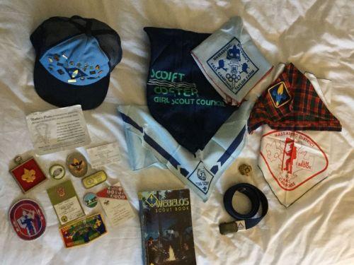 1990s Boy Scout Webelo uniform hat Scarf Belt 20 Pins Slide Book Cards Patches