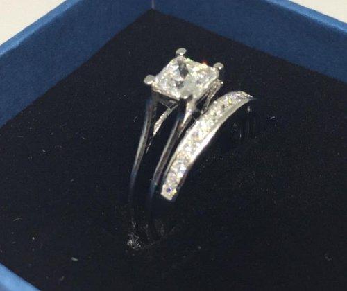 Sterling Silver 18k women wedding ring 2 Carat Lab Diamond Christmas Gift