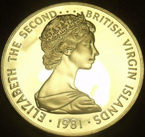 British Virgin Islands 1981 Dollar~Rare Silver Proof~1,124 Minted~Frigate~Fr/Shi
