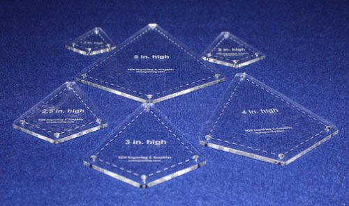 """Quilting Template -6 Piece """"Kite"""" Shape Set - 1/8"""" Clear Acrylic"""