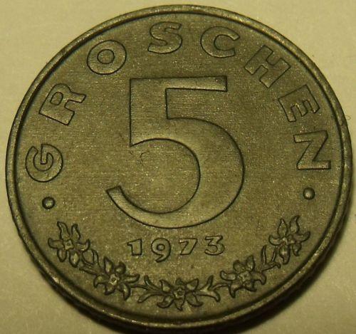 Austria 1969 5 Groschen Proof~Austrian Shield On Breast~Zinc~Only 44k Minted~F/S