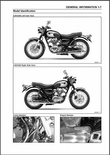 2011-2012-2013-2014-2015 Kawasaki W800 Service Manual on a CD