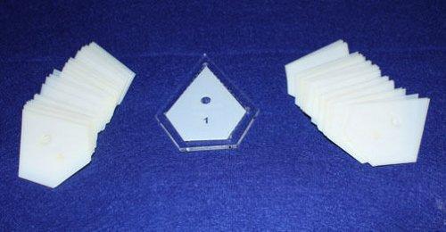 "Mylar 1"" Starpoint & 2"" Hexagon- 102 Piece Set - Quilting / Sewing Templates -"