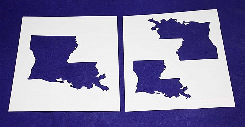 """State of Louisiana 2pc Stencil Mylar 14 Mil- 4"""", 5"""", 6"""" Paint /Crafts/ Template"""