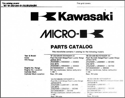 1986-2003 Kawasaki ZG1200 Voyager XII Service & Parts Manual on a CD