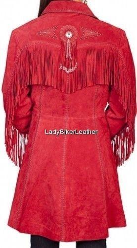 Ladies BEADED Black SUEDE Leather WESTERN FRINGE 3/4 Length COAT Jacket CONCHOS
