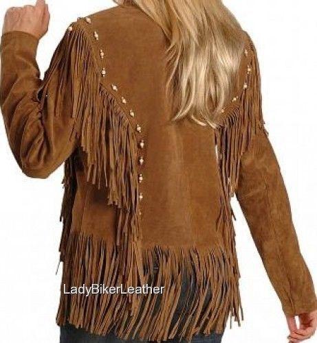 LADY BIKER Boned BEADED Brown OR Black SOFT SUEDE Leather WESTERN FRINGE Jacket