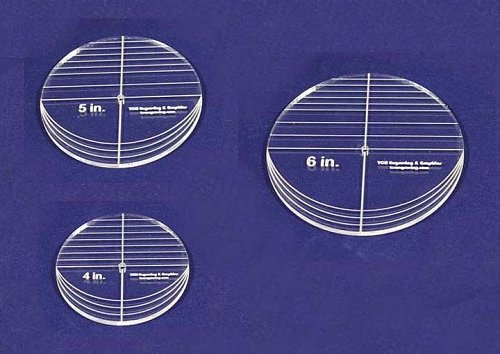 "3 Piece Circle Set - NO seam 4"",5"",6"" ~ 1/4"" Thick - Long Arm -Multi Use"