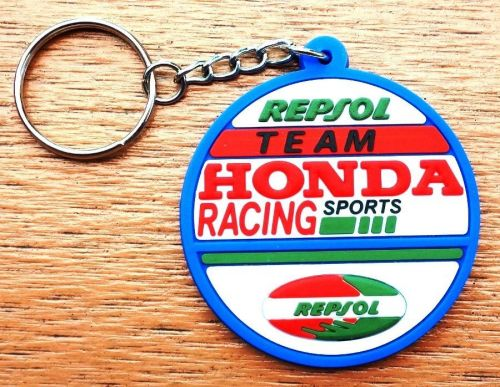 1 KEYCHAIN KEYRING ROUNDED EDGES OF THE BLUE HONDA RUBBER MOTORCYCLE GIFT