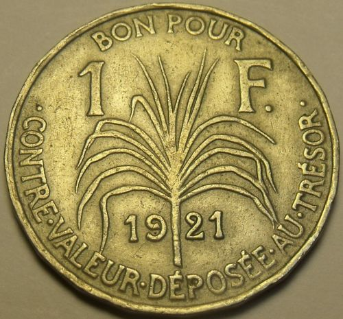 Rare Guadeloupe 1921 Franc~600,000 Minted~SugarCane~Last Year Ever~Free Shipping
