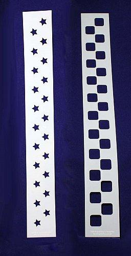 "Checkerboard/Star Border Stencil Set-14 Mil Mylar-3"" x 23.5 Painting/Crafts"