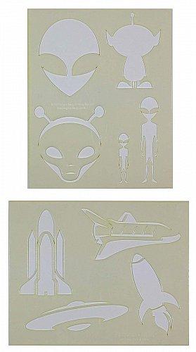 Aliens-Spaceship Stencils-2 pc Set-14 Mil Mylar- Painting/Crafts/Template