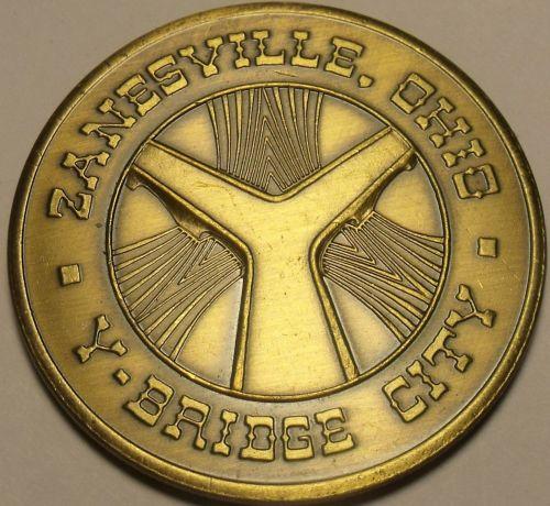 Zanesville Ohio 100th Anniversary Solid Bronze Medallion~Y Bridge City~Free Ship