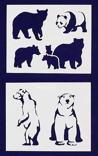 Bear Stencils-2 pc Set-14 Mil Mylar- Painting/Crafts/Template
