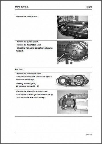 Piaggio MP3 400 i.e Scooter Service & Parts Manual on a CD