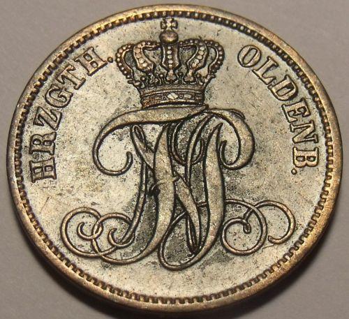 Oldenburg 1866-B 3 Schwaren~Rare Only 36,000 Minted~Free Shipping