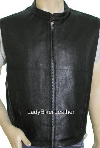 SOA Biker BLACK Premium Leather ZIP Front CONCEALED CARRY Motorcycle CLUB Vest