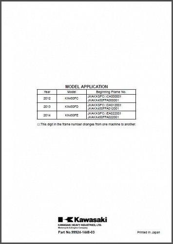 2012 2013 2014 Kawasaki KX450F Service Manual on a CD