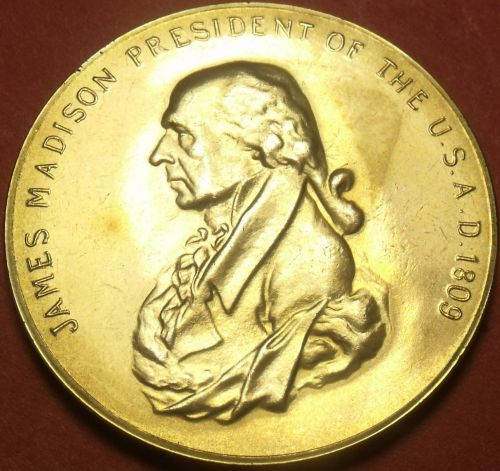 Gem Unc James Madison Presidential Bronze Inauguration Medallion~Free Shipping