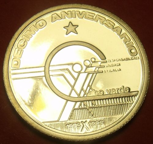 Cape Verde 1985 10 Escudos RARE Silver Proof~10th Anniversary Of Independence~FS