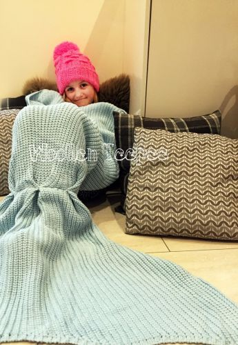 Hand Made Knitted mermaid tail blanket for kids & adults luxury blue