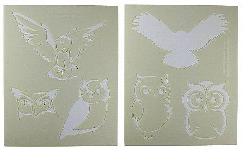 2 Piece Set - Owl Stencils Mylar 14 Mil Painting/Crafts/Stencil/Template