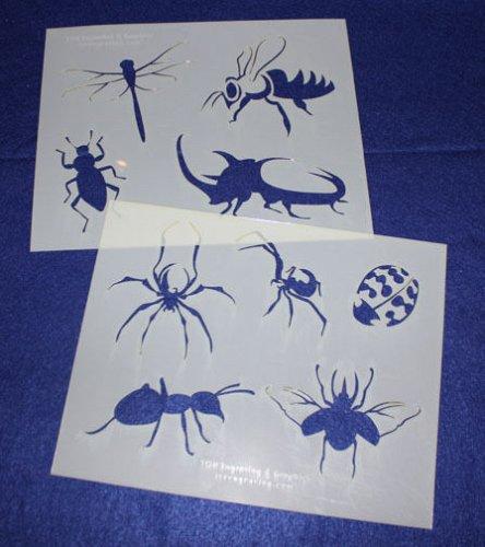 2 Piece Set -Mylar 14 Mil Bugs Stencils Painting/Crafts/Stencil/Template