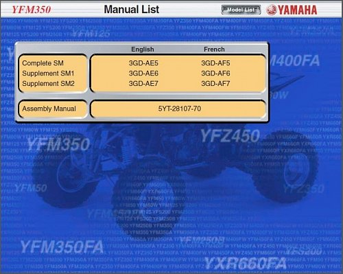 97-09 Yamaha YFM350 Warrior / Raptor 350 ATV Service Repair Manual CD . YFM 350S