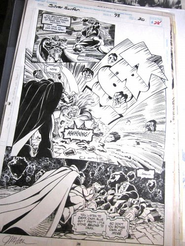 Comic Art from Silver Surfer #98 Page #28 Signed JIM HALL Warlock, Drax