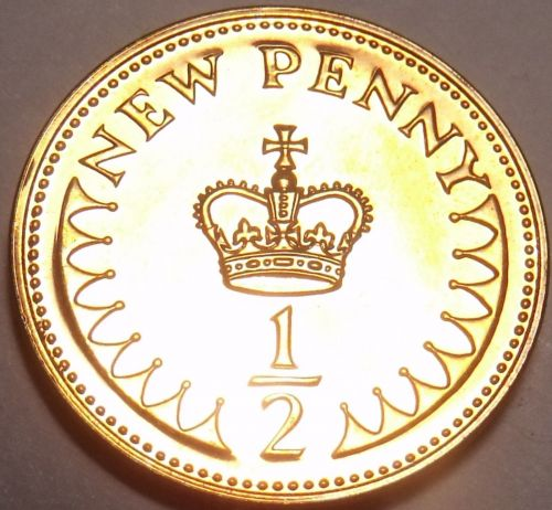 Great Britain 1971 Half New Penny Proof~1st Year Ever Minted~Free Shipping