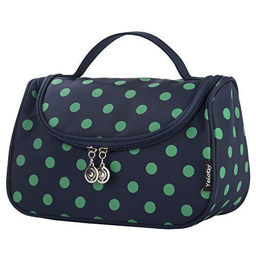 Cosmetic Organizer, Yeiotsy Polka Dots Toiletry Organizer Travel Bag For Womens