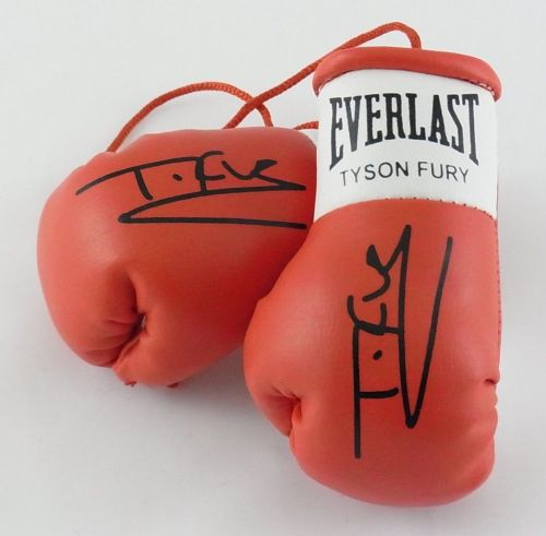 Tyson Fury v Wladimir Klitschko Autographed Mini Boxing gloves (collectable)