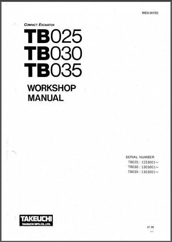 Takeuchi TB025 TB030 TB035 Compact Excavator Service Workshop Manual on a CD