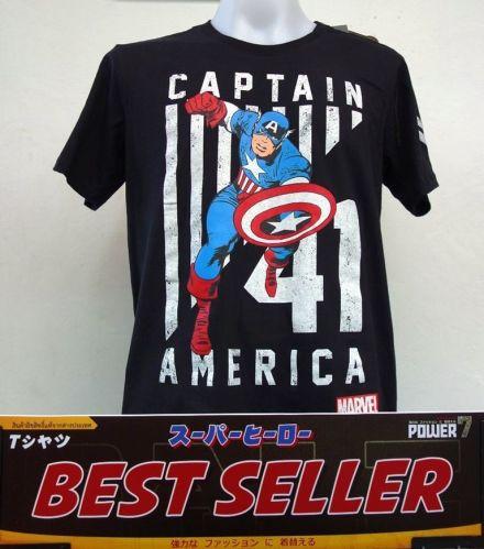 Captain America black Cotton 100% T-Shirt The Avengers Super Hero Marvel